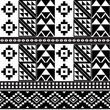 African tribal Kente monochrome cloth style vector pattern, seamless design with geometric shapes inspired by traditional fabrics or textiles from Ghana known as nwentoma