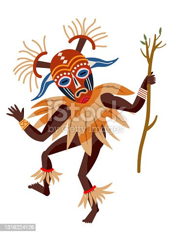 istock African tribal man dancing in costume and mask. Dancer performing with tree branch in tribe vector illustration. Guy in traditional ethnic ceremony isolated on white background 1316224126