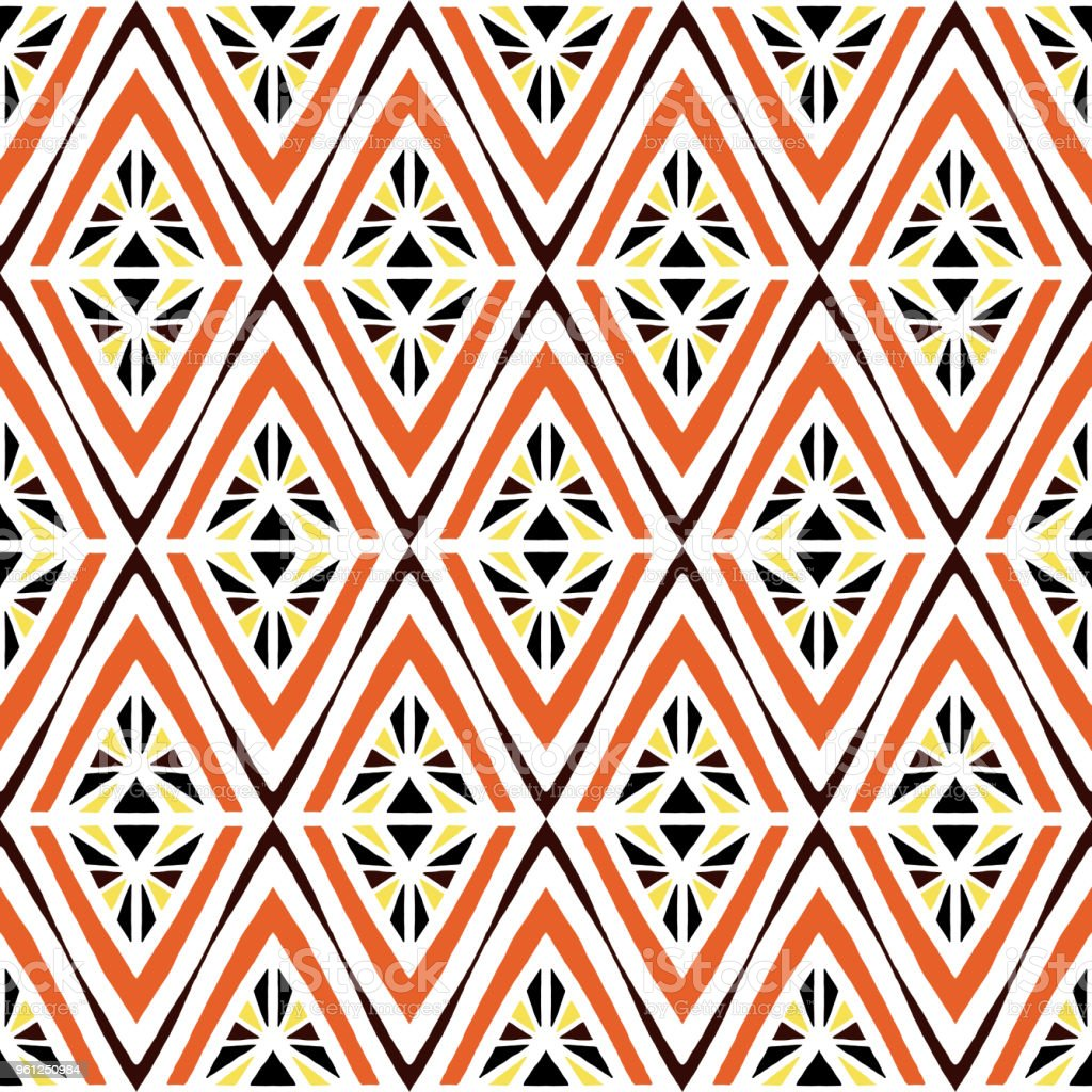 African Tribal Pattern Vector Seamless Ethnic Africa Fabric Print With Abstract Geometric Rhombus Bohemian