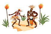 istock African tribal people playing music and dancing. Man and woman performing with drums in tribe vector illustration. Girl and guys with instrument. Traditional elements and ceremony 1320931696