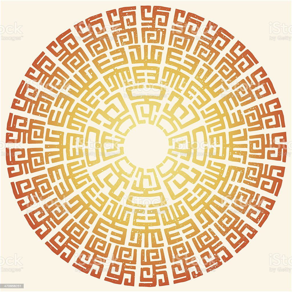 ornament tribal africana redondo - ilustración de arte vectorial