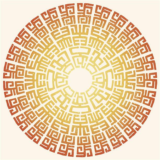 African tribal round ornament vector art illustration