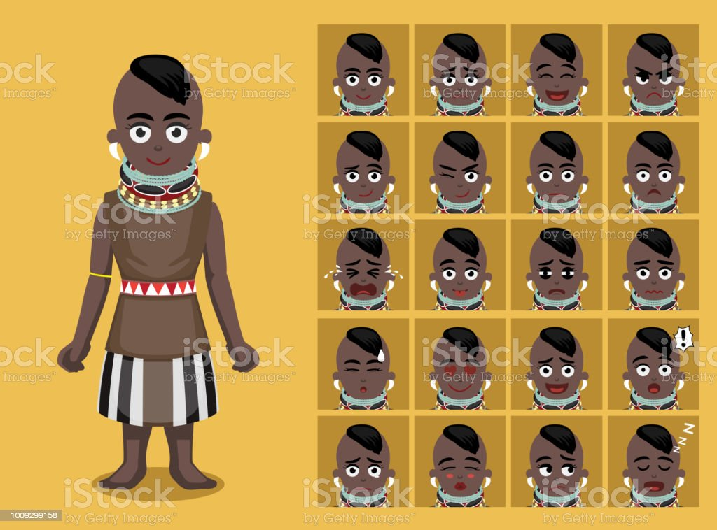 afrikaanse stam kleren vrouwelijke turkana cartoon emoticon