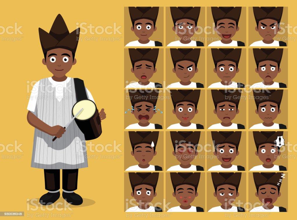 afrikaanse stam kleren mannelijke yoruba cartoon emotie gezichten