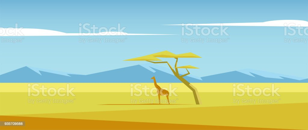 African vector landscape with giraffe standing under the acacia tree in the middle of savannah and mountains in the distance. Acacia and giraffe in the savannah field illustration. Nature of Africa