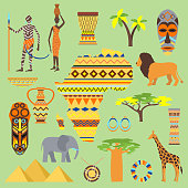 African vector symbols travel safari icon element set. African animals and people ethnic art south ancient design. Wildlife mask ancient african pattern, house, man and woman.