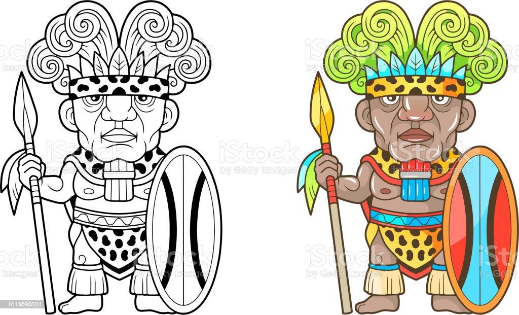 Ilustración De Guerrero Africano Ilustración Divertida Libro