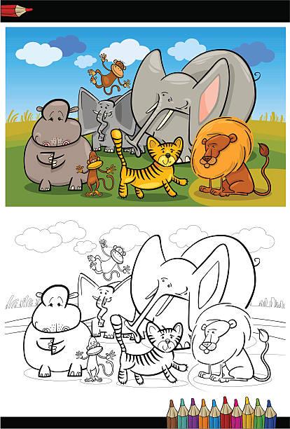 Vectores de Libro Para Colorear Con Los Animales Africano Divertido ...
