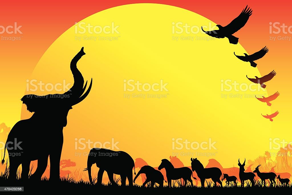 african wild animals silhouettes safari in hot day royalty free stock vector art