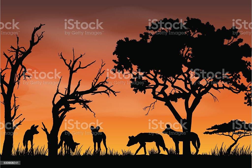 African Wildlife Silhouette vector art illustration