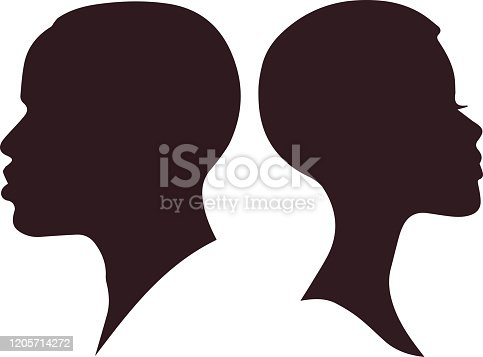 African Woman and man face silhouette. Pretty African Girl and Man isolated on white