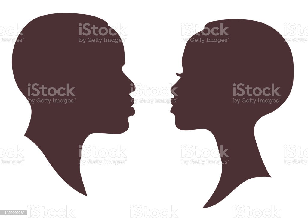 African Woman And Man Face Silhouette Young Attractive Modern Female Brutal Male Profile Sign Logo Stock Illustration Download Image Now Istock