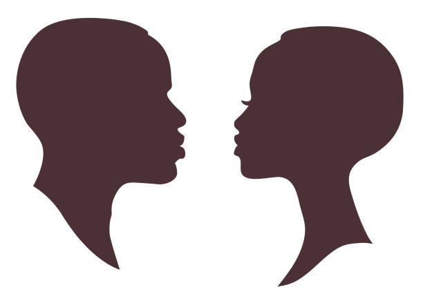 ilustraciones, imágenes clip art, dibujos animados e iconos de stock de silueta de cara de mujer y hombre africanos. logotipo de signo de perfil masculino brutal femenino moderno y atractivo joven - black people