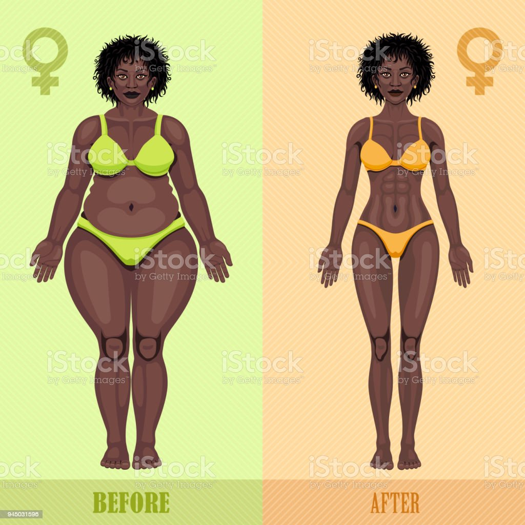 African Woman Before And After Weight Loss Stock Illustration Download Image Now Istock