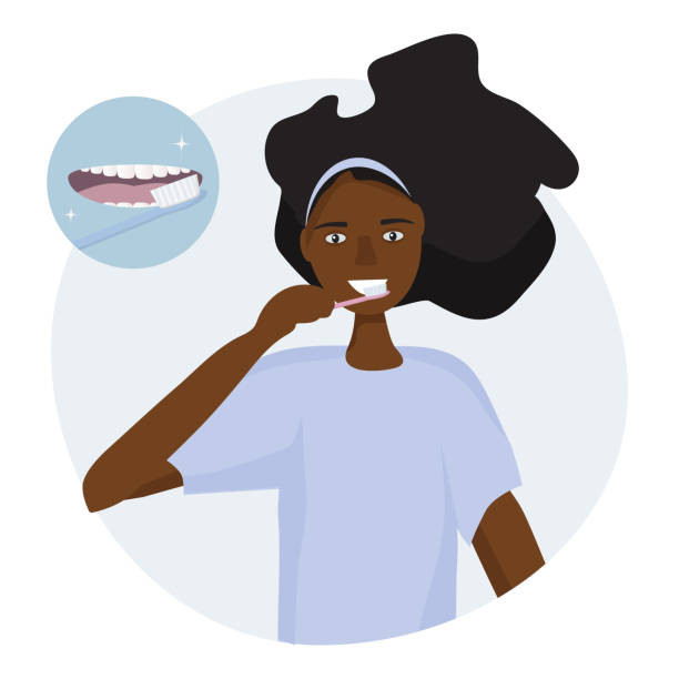 illustrazioni stock, clip art, cartoni animati e icone di tendenza di african woman brushing her teeth with a toothbrush.  open mouth with tongue and healthy clean teeth. oral hygiene concept every day. vector illustration flat design - smile woman open mouth