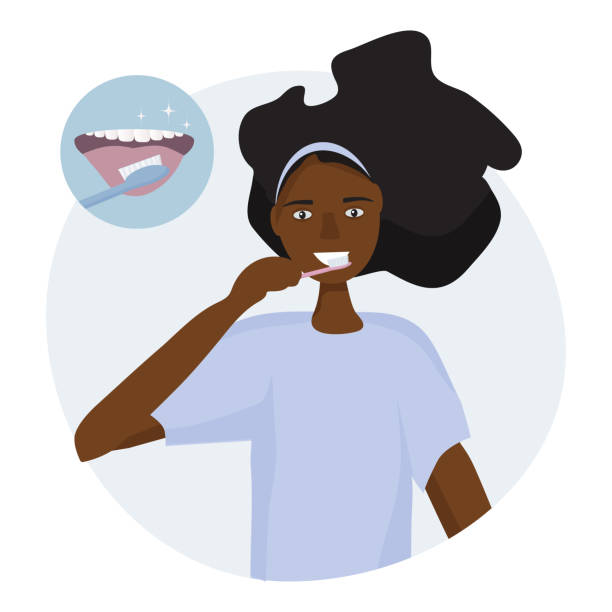 illustrazioni stock, clip art, cartoni animati e icone di tendenza di african woman brushing her tongue with a toothbrush.  open mouth with tongue and healthy clean teeth. oral hygiene concept every day. vector illustration flat design - smile woman open mouth