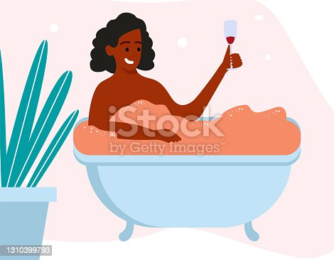 istock African Woman character taking bath relaxing and drink wine. Vector flat flat simple illustration 1310399793