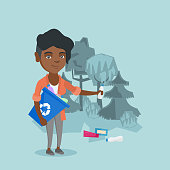 Young african woman collecting garbage in a recycle bin in the forest. Woman picking up garbage and putting it in a recycling bin. Waste recycling concept. Vector cartoon illustration. Square layout.