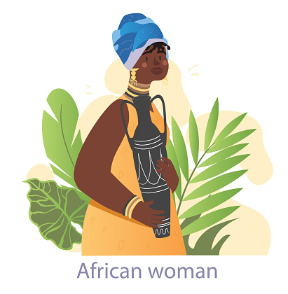 African woman. Attractive female character in turban holds vase and carries it through jungle. Young girl in bright dress and accessories. Cartoon flat vector illustration isolated on white background