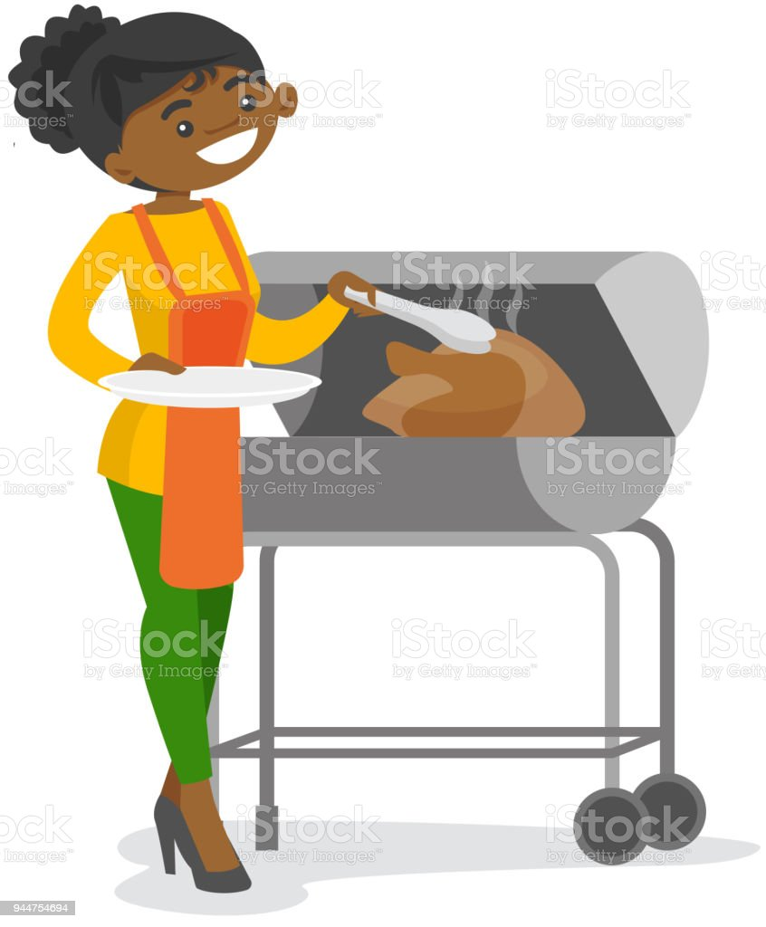 African woman cooking chicken on the barbecue vector art illustration