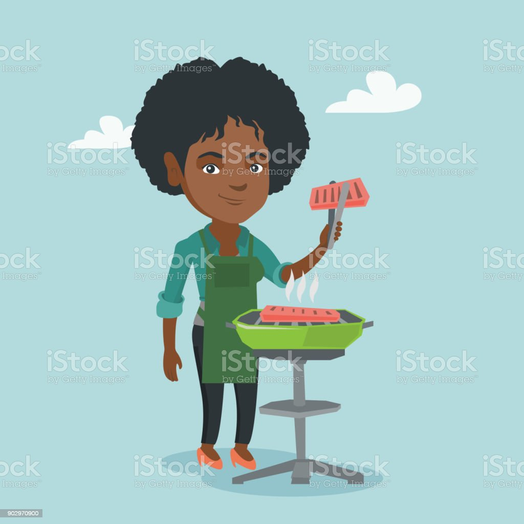 African woman cooking steak on the barbecue vector art illustration