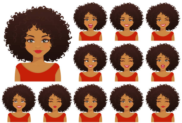 African woman expressions set vector art illustration