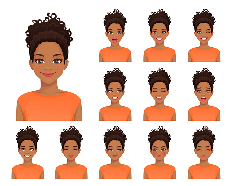 African woman expressions set