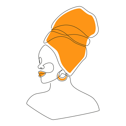 African woman face in one line drawing. Portrait of Beautiful woman in headwrap. Abstract modern Vector Illustration for logo, print, t-shirt, emblem, wall art