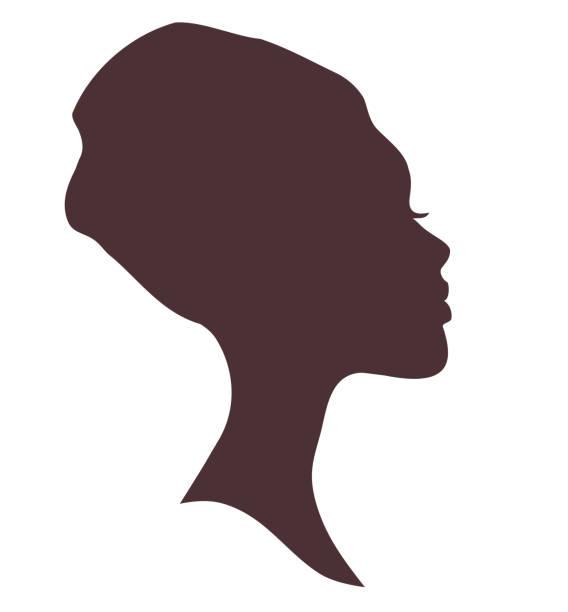 Afrikanische Frau Gesicht Silhouette in nationalen Kopfschmuck – Vektorgrafik