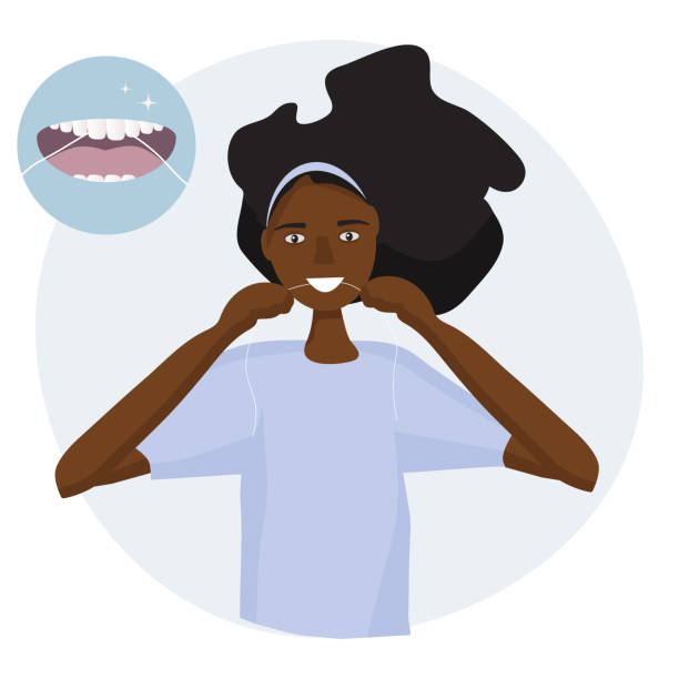 illustrazioni stock, clip art, cartoni animati e icone di tendenza di african woman flossing her teeth. example of care - open mouth with tongue and healthy clean teeth. mouth hygiene every day.  vector illustration flat design - smile woman open mouth