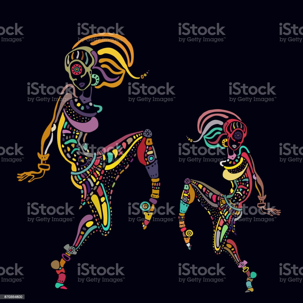 African woman in ethnic style vector art illustration