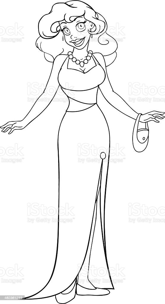 African Woman In Evening Dress Coloring Page Stock Illustration