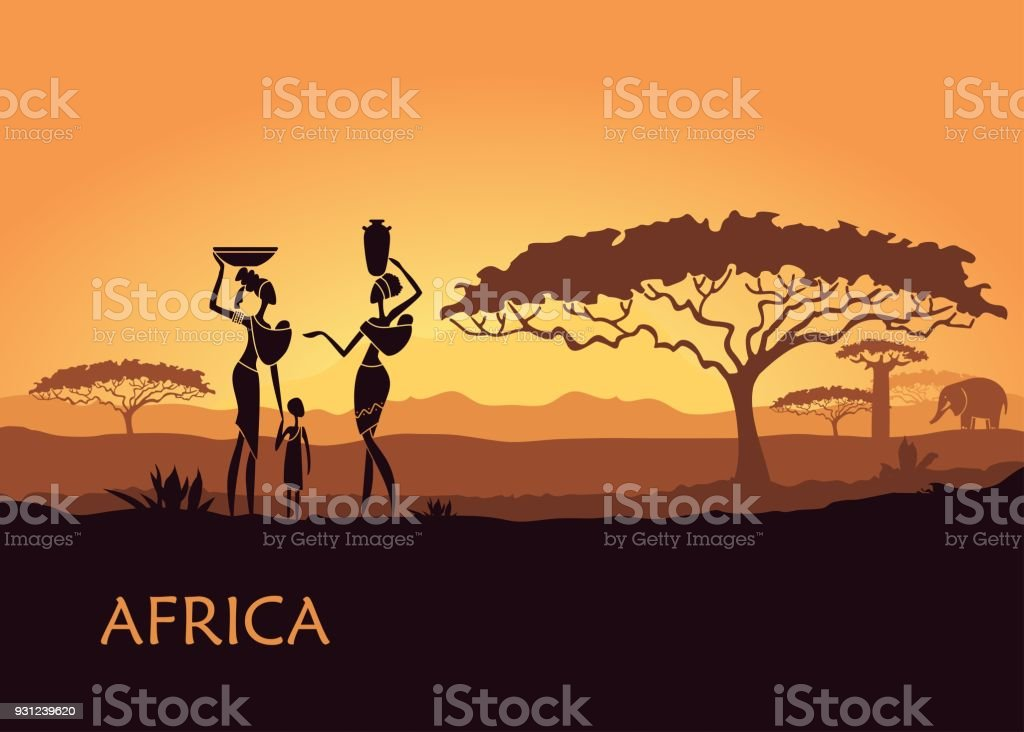 African woman on sunset background - illustrazione arte vettoriale