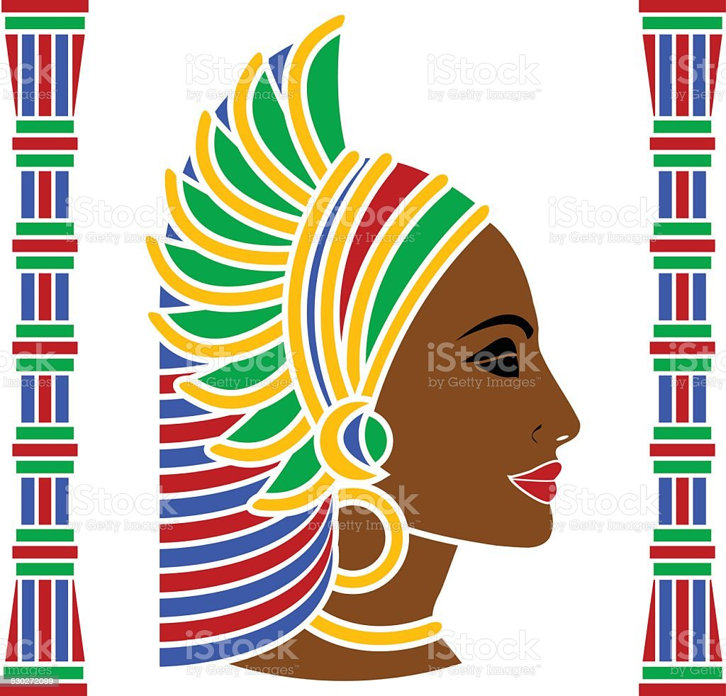 african woman profile vector art illustration