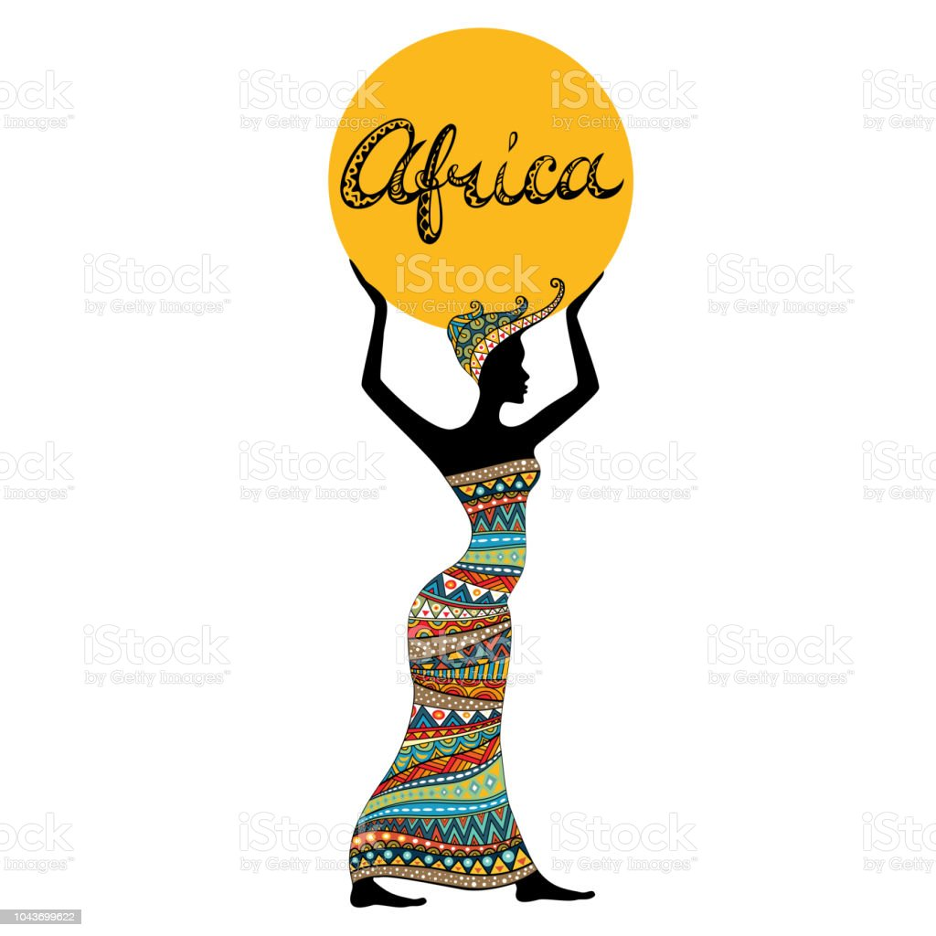 African woman silhouette and hand drawn title. vector art illustration