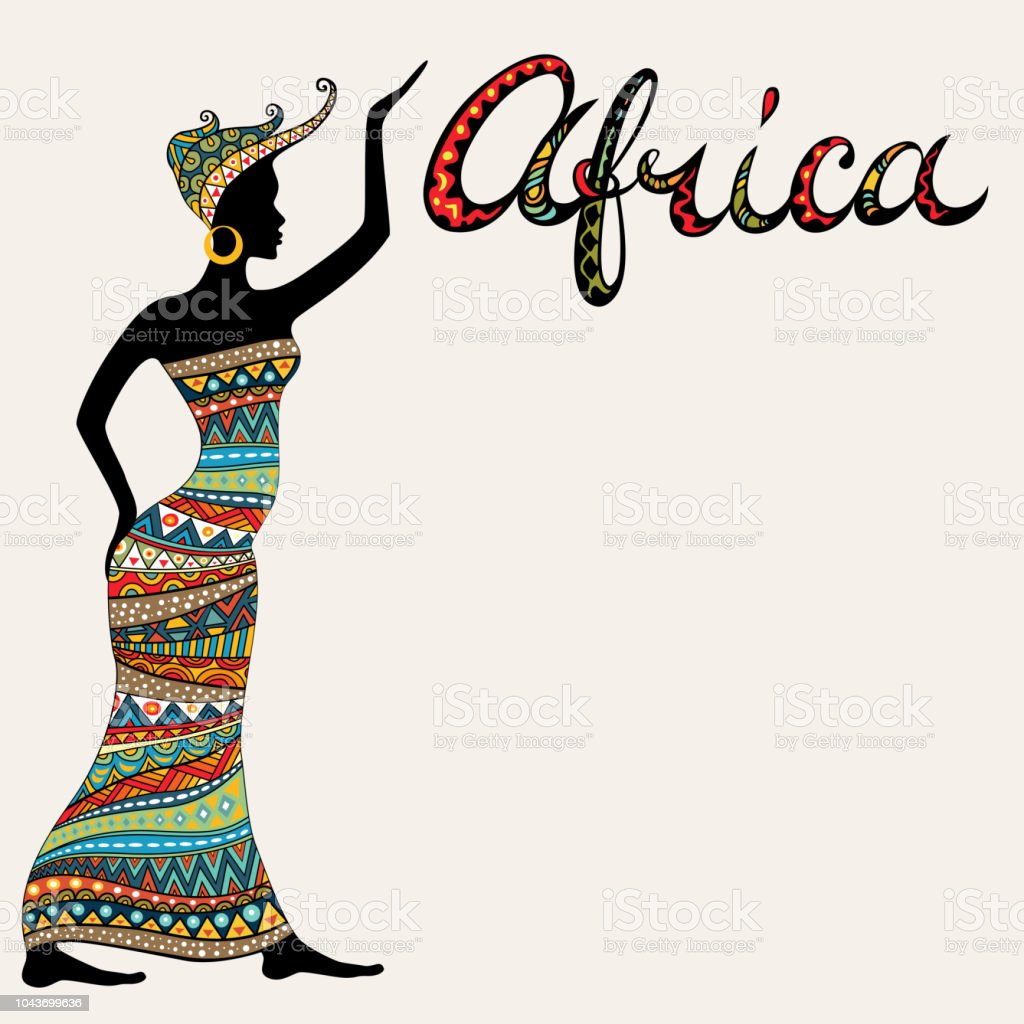 African woman silhouette and title. vector art illustration