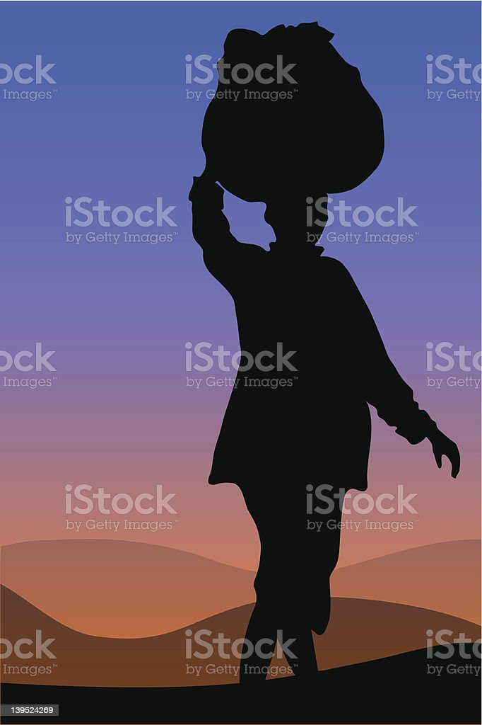 African Woman Silhouette vector art illustration