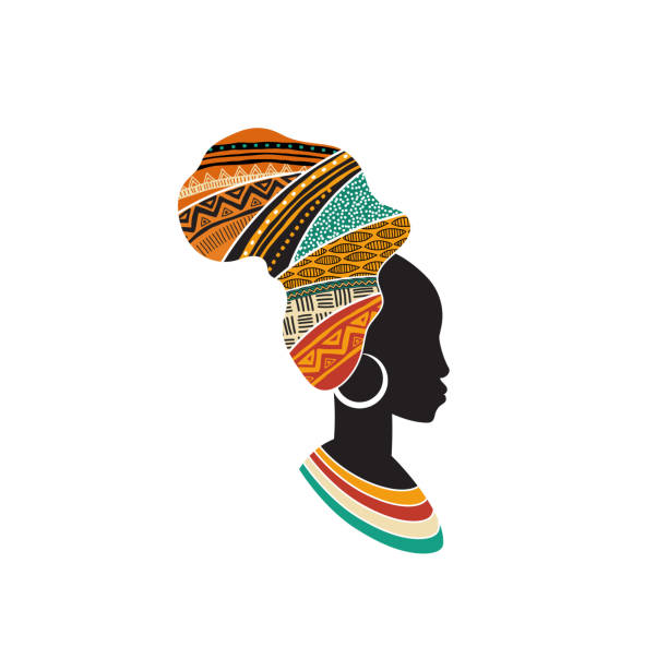 African woman silhouette with an African map as a head wrap. Concept design and illustration African woman silhouette with an African map as a head wrap. Concept design and illustration headscarf stock illustrations