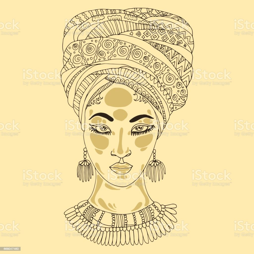African woman the patterned scarf draped on the head vector art illustration