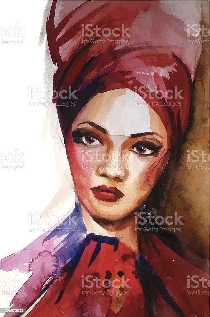 African woman. Watercolor vector vector art illustration