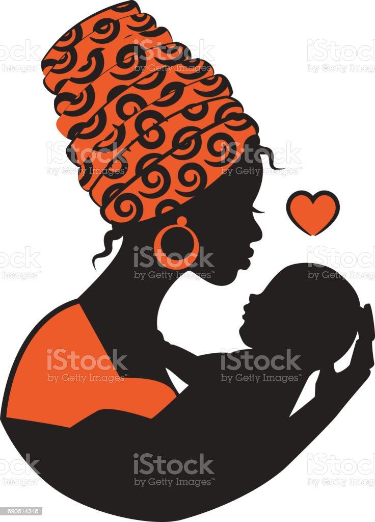 African woman with baby – Vektorgrafik