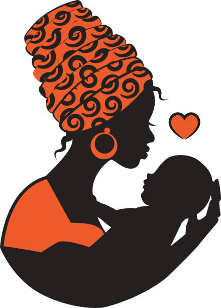 African woman with baby vector art illustration