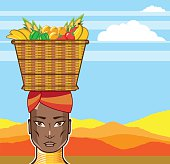 African woman with basket of food