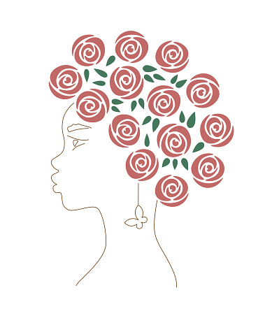 African woman with red roses a butterfly earring. Line art female portrait. Curly hair.