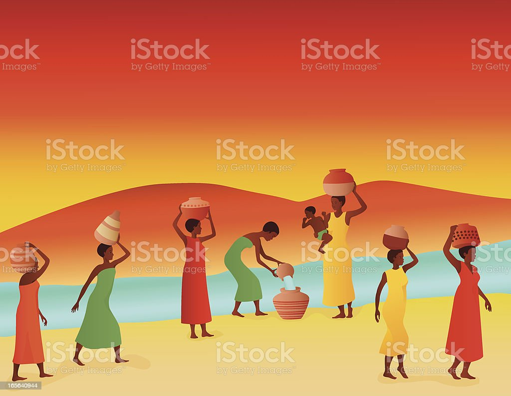 African Women Collecting Water at a River royalty-free stock vector art