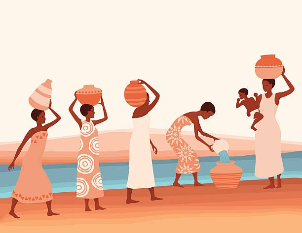 illustrazioni stock, clip art, cartoni animati e icone di tendenza di donne africane raccolta dell'acqua - portare