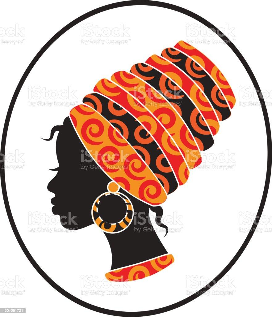 African women face in the frame vector art illustration