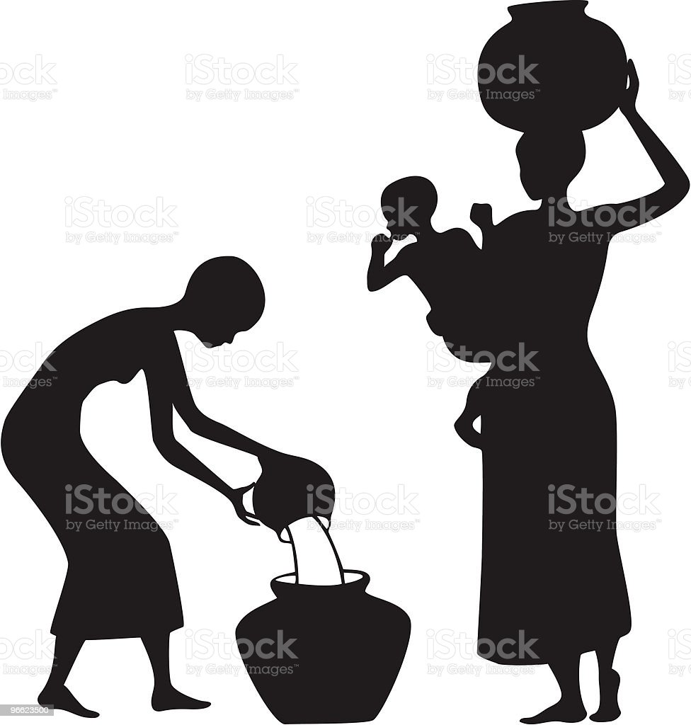African Women gathering water royalty-free stock vector art