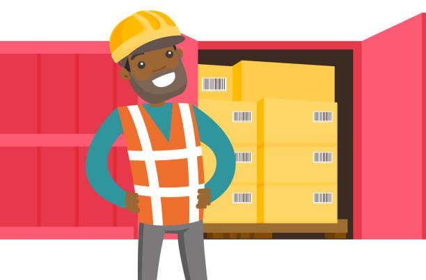 stockillustraties, clipart, cartoons en iconen met afrikaanse werknemer en cargo container met vakken - warenhuismedewerker
