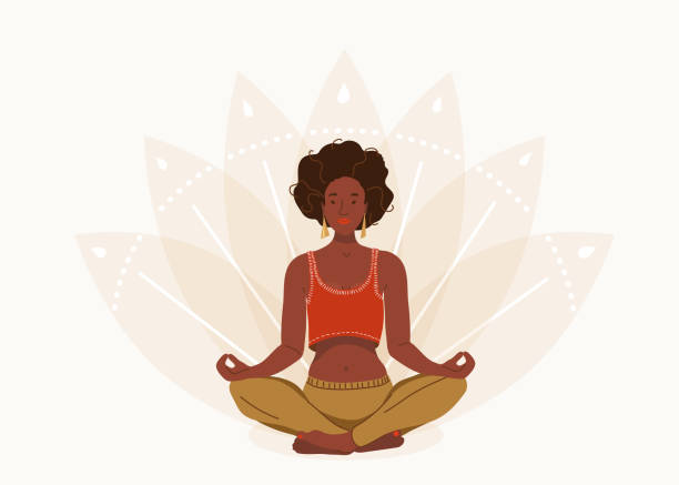 African young woman sitting in yoga lotus pose. Happy relaxed black girl performing meditation exercise. Vector illustration background in flat cartoon style vector art illustration